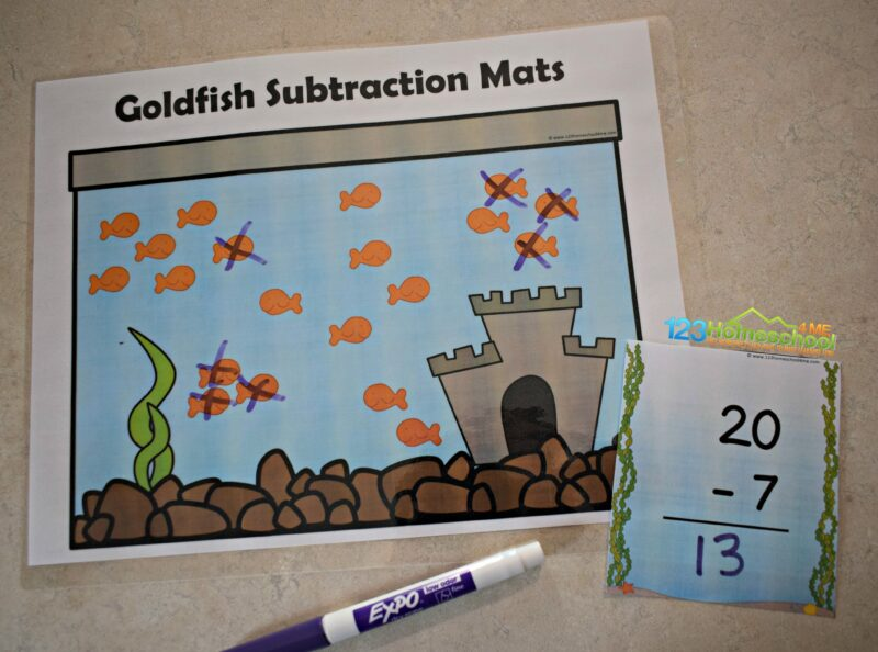 use fish to turn subtraction into a fun math activity