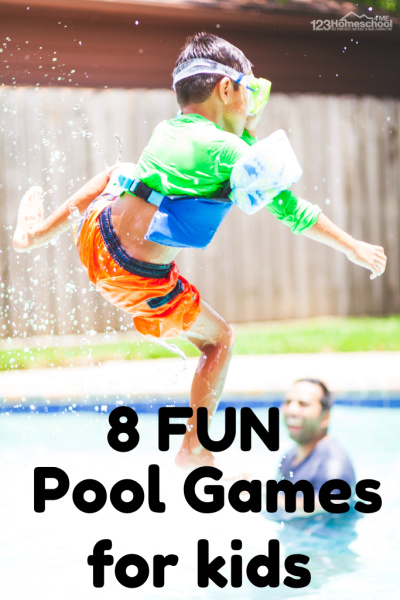 8 FUN Pool games for kids - these educational play and learn games are a great way to sneak in some summer learning for toddler, preschool, and kindergarten age kids. #summerlearning #poolgames #kidsactivities