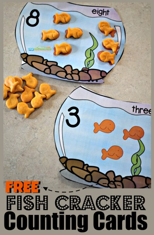 FREE Goldfish Counting Bowls - this is such a fun, hands on math activity for toddler, preschool, and kindergarten age kids for practicing counting to 10, one to one discrimination, and more with yummy goldfish crackers #goldfishcrackers #counting #preschool