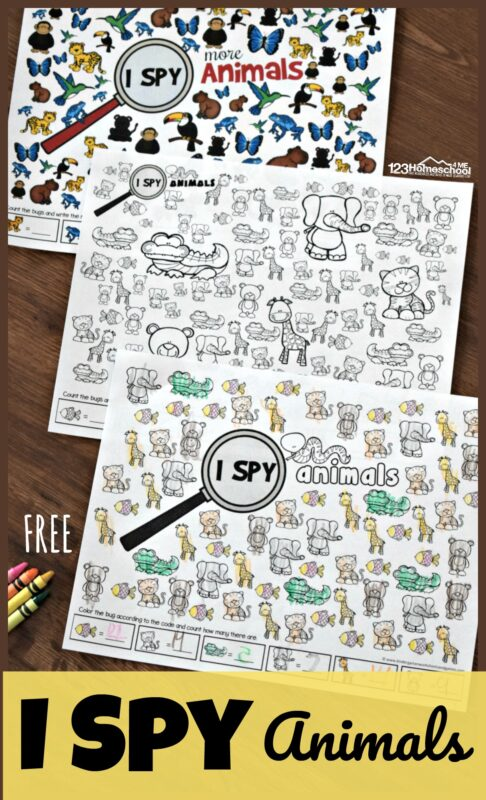 Kids will have fun practicing counting and visual discrimination with these super cute, animal theme Ispy worksheets. These free i spy printables are perfect for toddler, preschool, pre-k, and kindergarten age kids. Simply download pdf file with i spy printables and you are ready to count and play with cute animals like elephants, giraffe, alligators, monkeys, butterflies, blue frogs, and more!