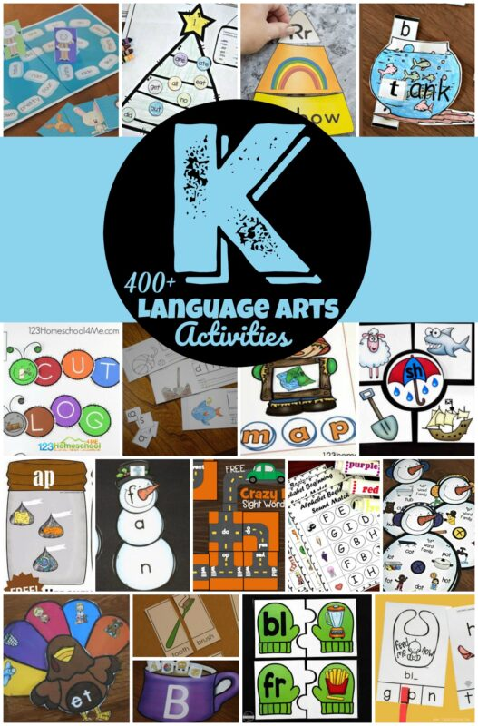 Over 2000 fun, creative kindergarten literacy games free worksheets for teaching alphabet letters, word families, sight words, cvc words, blends, reading readingess, phonemic awareness, kindergarten phonics, and more! #kindergarten #kindergartenlanguearts #kindergartenactivities