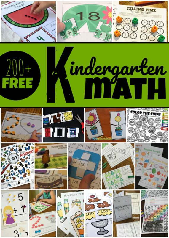 Over 200 fun, creative worksheets, games, and activities for kindergarten math - counting, addition, telling time, shapes, coins, hundreds chart, place value, subtraction, place value, and more! #kindergarten #kindergartenmath #kindergartenactivities
