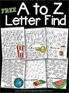 FREE A to Z Letter Find- super cute printable abc worksheets to help kids practice letter recognition of both uppercase and lowercase letters. Perfect for toddler, preschool, and kindergarten age kids #alphabet #preschool #kindergarten
