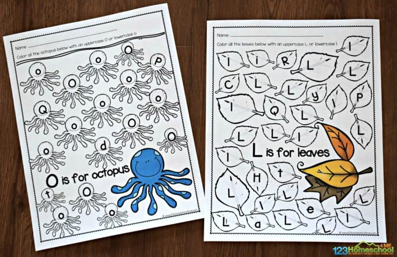 free printable letter recognition worksheets for every letter from A to Z. Pictured is O is for Octopus and L is for leaves. Fun way for toddler, preschool, pre k, and kindergarten to practice abcs