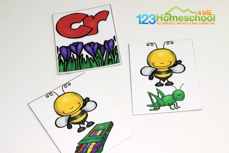 literacy game to match bl, cl, fl, gl, pl, sl with the pictures with the same beginning sound