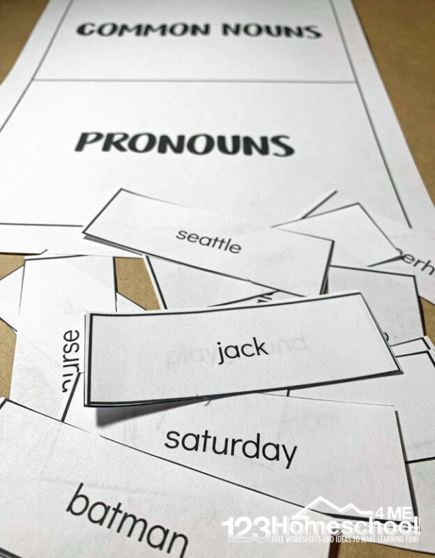 cut and paste noun worksheets to make learning common and proper noun fun