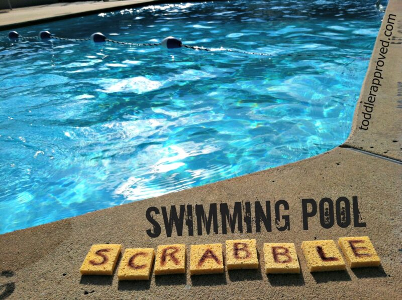 Kids will love practicing spelling when they get to play in the pool