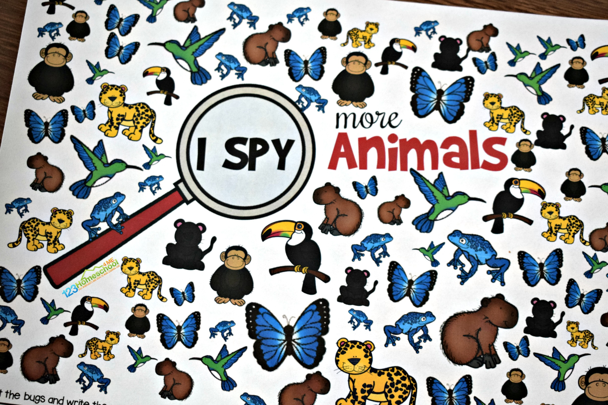 picture regarding Printable Animals identified as Absolutely free Animal I Spy 123 Homeschool 4 Me