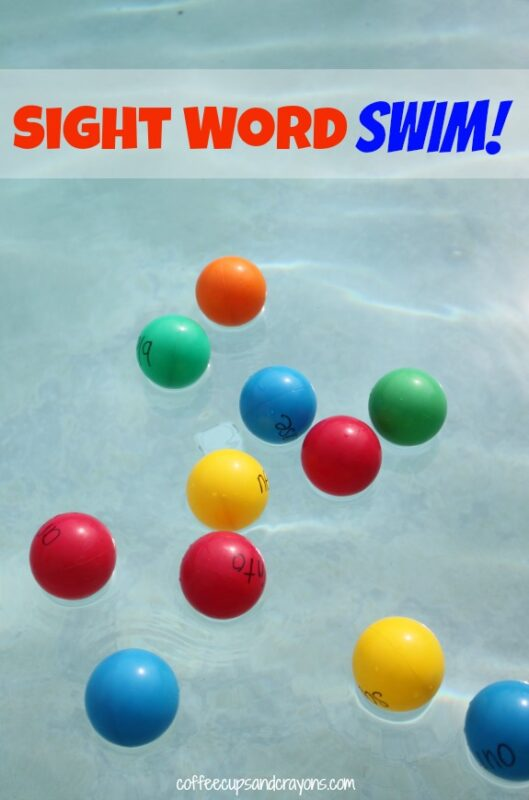 This colorful pool game is a fun way to practice reading sight words in the pool