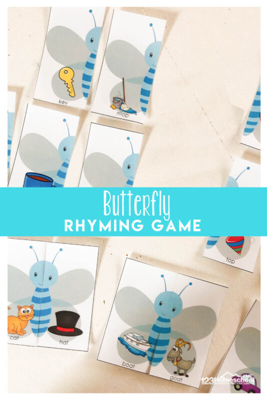 FREE Rhyming game with butterfly theme for preschool, kindergarten, and first grade