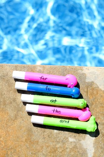 This Sight Word Dive game is a fun learning activity for the pool