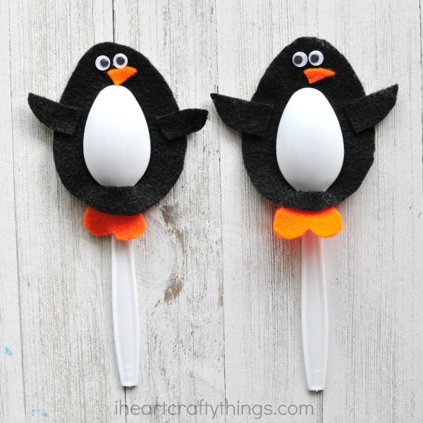 Super cute spoon penguin craft for world penguin day