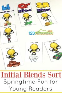 FREE Spring Initial Blends Sort - this is a fun, hands on consonant blend activity for first graders to practice in a fun literacy game #blends #literacy #firstgrade