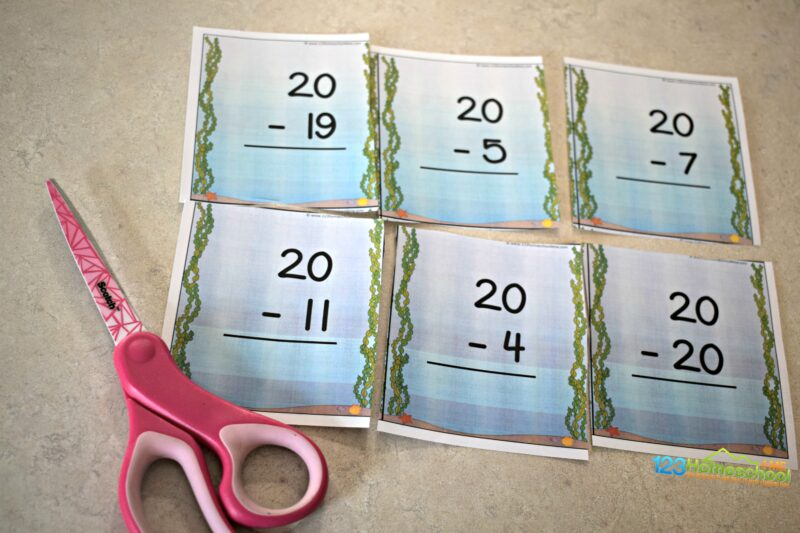 Cut apart these subtraction cards