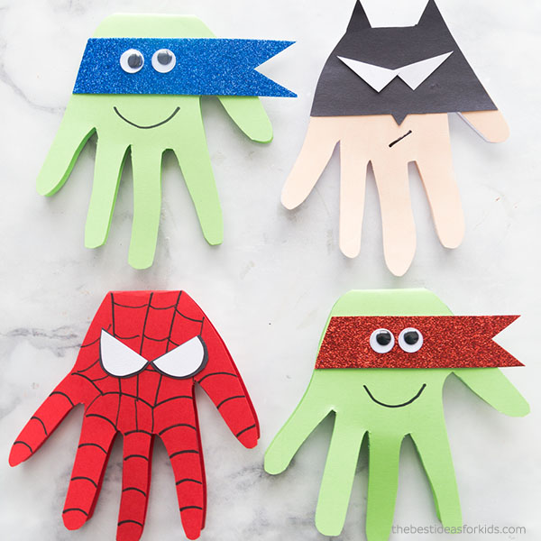 Fun to make super hero hand art project