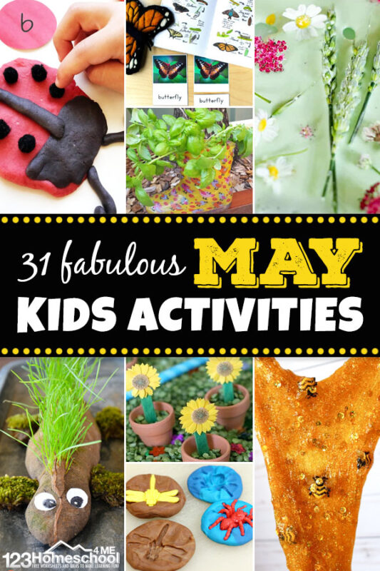 31 Fabulous May Kids Activities - so many clever spring themed activities for kids including bees, ladybugs, butterflies, gardening, and more! #kidsactivities #springactivities #activitiesforkids