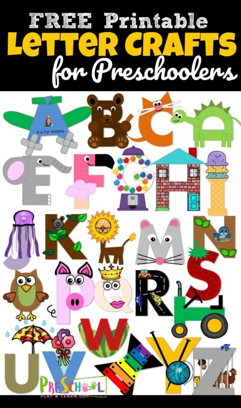 FREE Uppercase Letter Crafts - you will love these no prep alphabet crafts - just print, color, cut, paste, and tape / glue together #preschool #alphabet #craftsforkids