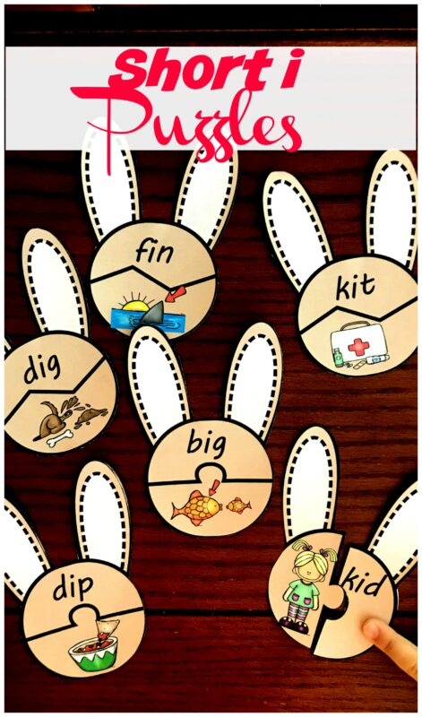 FREE Spring Short I Puzzles - this is such a fun way for preschool, kindergarten, and first grade kids to practice short i words while improving early literacy skills with a fun activity #shorti #kindergarten #literacy