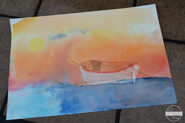 crayon bleeding tissue paper, rainy day art project
