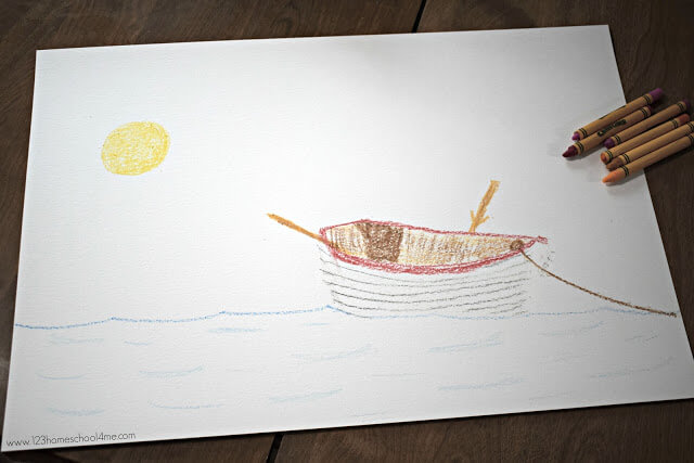 Draw a scene with crayon on watercolor paper