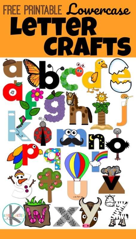 FREE Printable Lowercase letter crafts - NO PREP! Just print, color, cut, paste / tape and done! Perfect letter recognition activity for toddler, preschool, prek, and kindergarten age kids #lettercrafts #alphabet #kindergarten