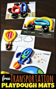 Young learners will have fun exploring with these FREE Transportation Playdough Cards to strengthening fine motor skills using playdough.