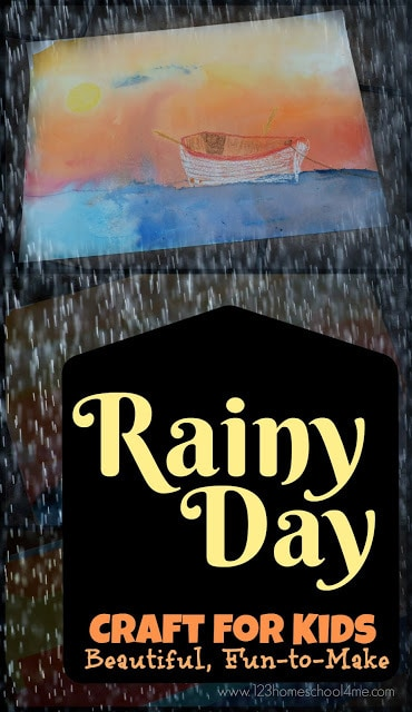 Beautiful Rainy Day Craft for Kids - this is such a fun to make craft in the rain! All you need is crayon and bleeding tissue paper to make this stunning sunset art project for kids. perfect for spring or summer kids activities or summer bucket list for your toddler, preschool, kindergarten, first grade, 2nd grade, 3rd grade, 4th grade, 5th grade #rain #craftforkids #kidsactivities