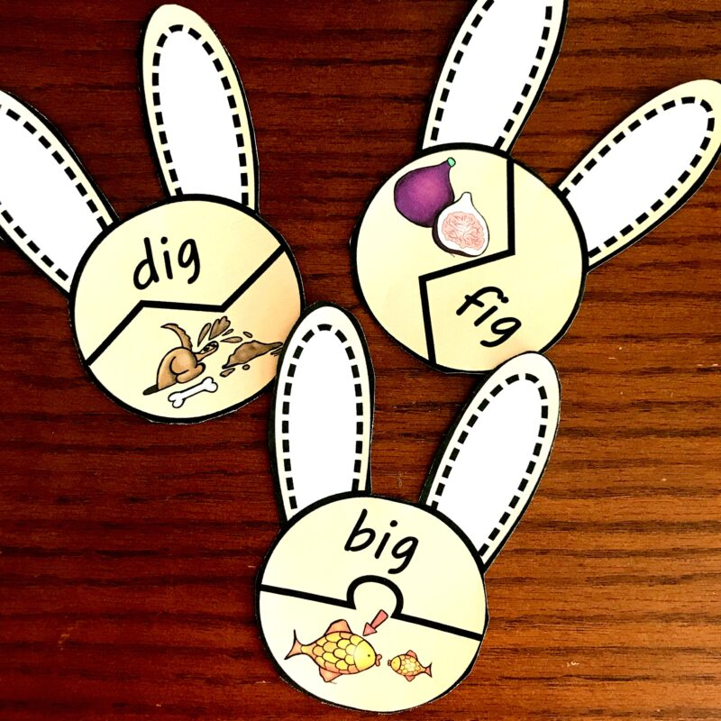 Short i sound bunny puzzles for spring literacy with preschool and kindergarten age kids