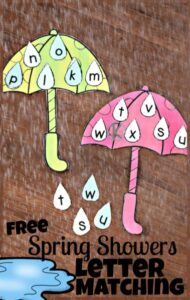 Spring Letter Matching Activity for preschoolers and kindergartners