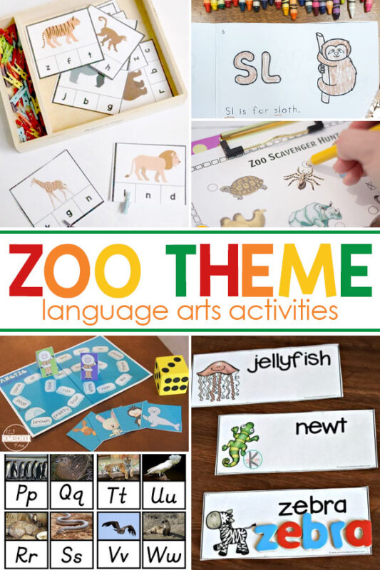 Zoo themed Language Arts Activities Start your zoo unit study these fun language arts activities.
