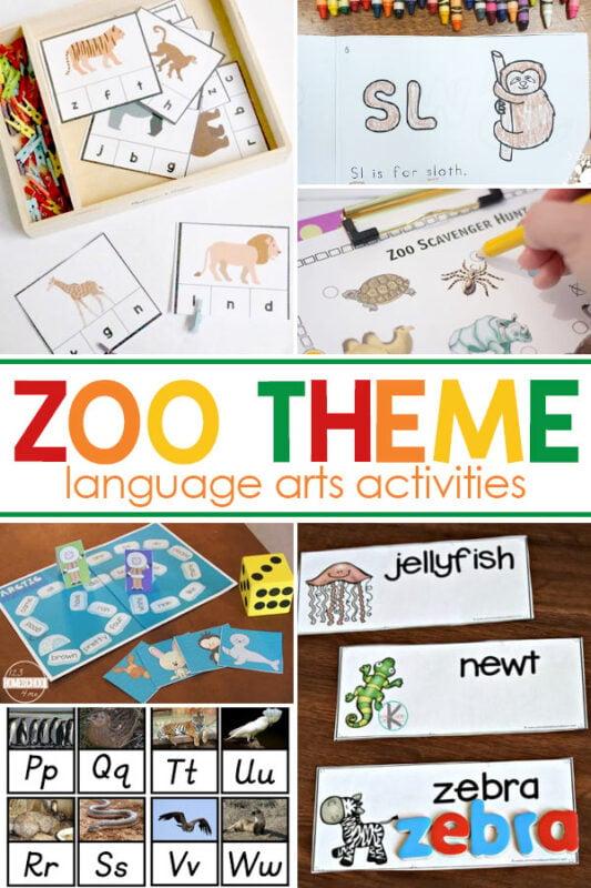 Zoo themed Language Arts Activities Start your zoo unit study these fun language arts activities.