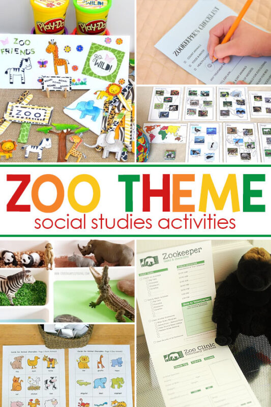 Zoo themed Social Studies These fun zoo activities are perfect for helping kids learn more about their community and the world around them.