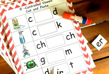 These bossy r cut and paste first grade worksheets are great preactice.