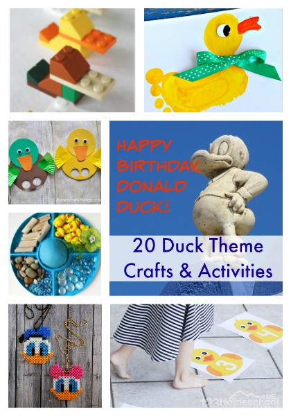 20 Duck Themed Crafts & Activities to celebrate Donald Duck Day on June 9th #funholidays #donaldduck #specialdays