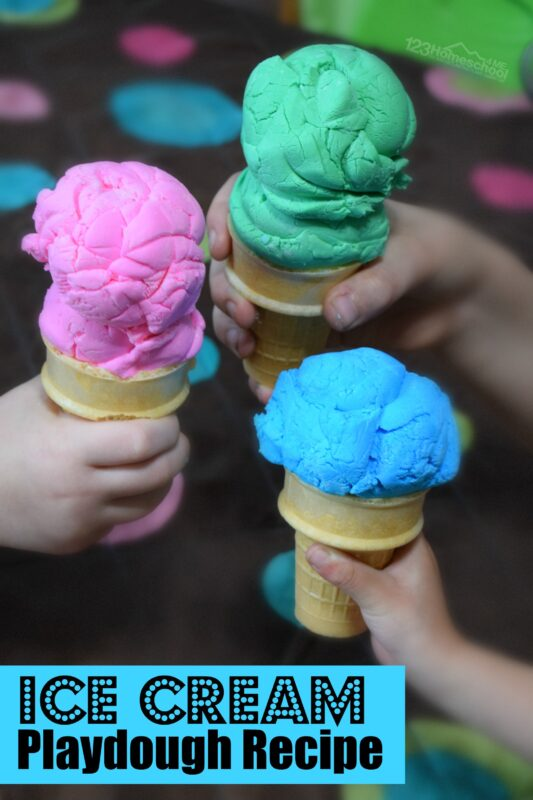 ? Amazingice cream play doh is an EASYedible playdough and scoops like real ice cream too! This ice cream play dough is a perfect summer activity for kids!