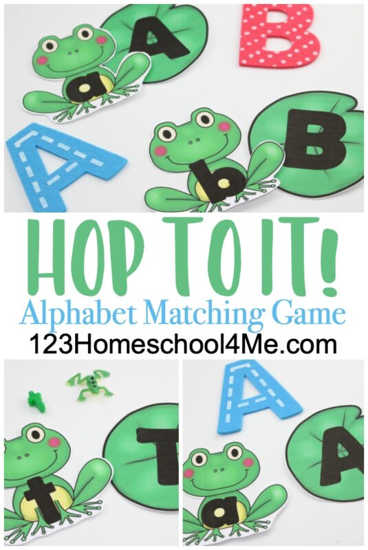"""This spring, your child can work on letter recognition and letter their ABCs with this alphabet matching game. Preschool, pre-k, and kindergarten age children will love the cute alphabet matching game printable featuring cute frogs! This """"Hop to It!"""" letter matching game printable is such a cute frog printables, perfect for a frog theme or spring theme with kids. Simply print the pdf file with abc matching game printable and you are ready to play and learn!"""