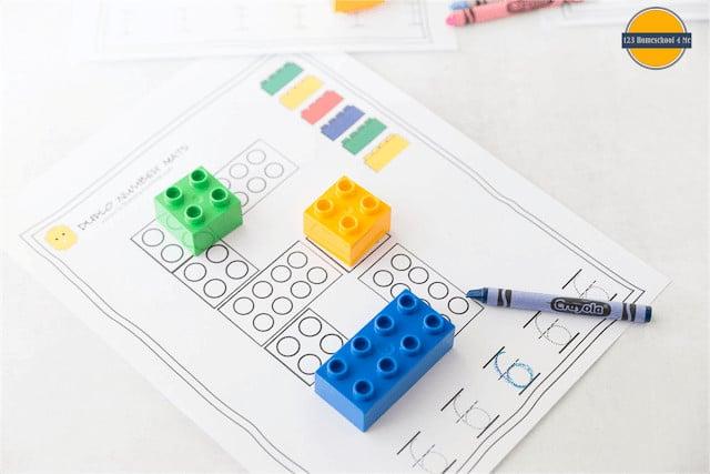 super cute lego numbers printables for toddler, preschool, prek, and kindergarten age kids to practice numbers 1-10