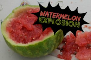 summer science experiment to learn about potential energy and kinetic energy - watermelon science!