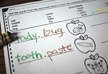 Super cute first grade worksheets with an apple them for first graders to practice Compound Words for Kids