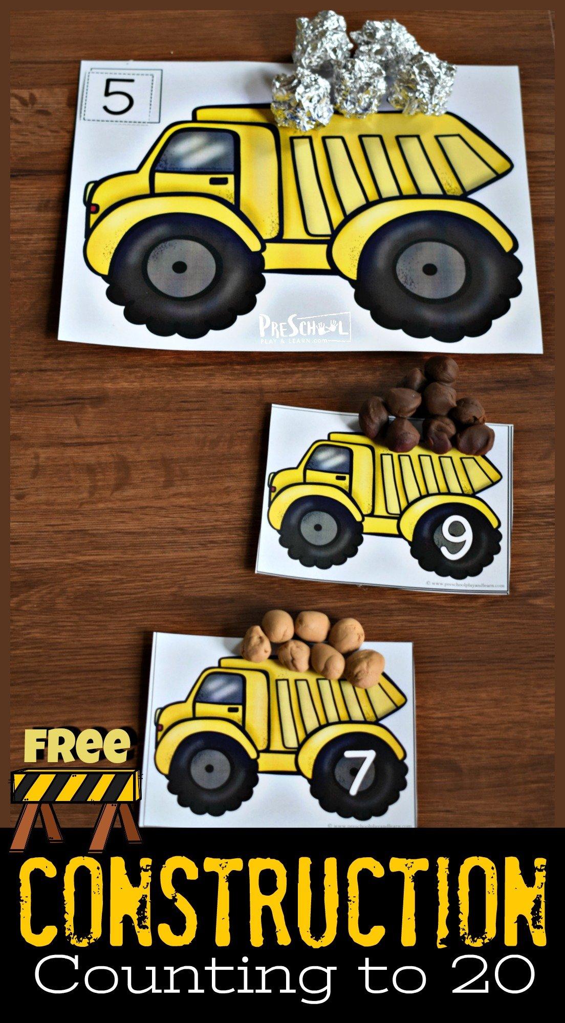 Free Dump Truck Count to 20 Math Activity for Preschool and Kindergarten age kids