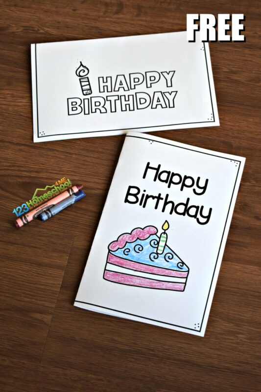 These Free Birthday Cards to Print are perfect for kids to color and take to friend birthday parties or to send to grandparents.