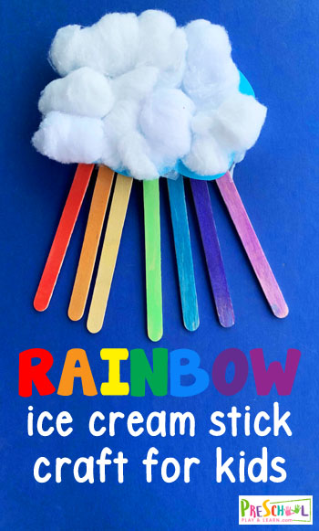 Rainbow Ice Cream Stick Craft - This Ice Cream Stick Craft is a fun way to use up all the extra Popsicle sticks you'll have this summer to create a beautiful rainbow craft. #craftsforkids #rainbowcrafts #preschoolcrafts