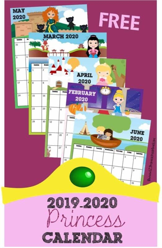 FREE Printable Princess Calendar - super cute calendar pages for 2019-2020 calendar year including favorite disney characters, Ana, Elsa, Snow White, Jasmine, Merida, Sleeping Beauty, Cinderella, Pocahontus, and more! #printablecalendar #princess #calendar