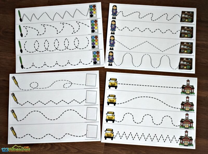 FREE Back to School themed Pre Writing Skills practice perfect for toddler, preschool, kindergarten on the first day of school