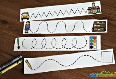 Use these Pre Writing Worksheets as back to school tracing strips with preschoolers and kindergartners