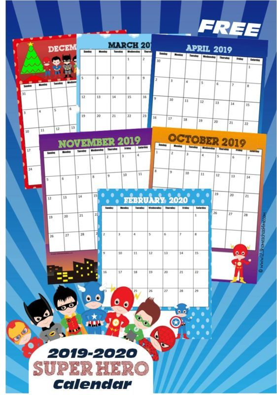 FREE Printable Super Hero Calendar 2019-2020. This is such a fun way for preschool, prek, kindergarten, first grade, and older kids to practice days of the month, weeks, and more with a fun theme #superhero #calendar #freeprintable
