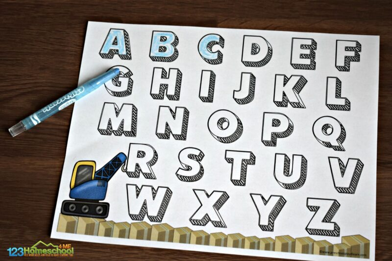 Super cute construction themed uppercase alphabet tracing page