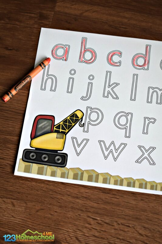 Practice tracing lowercase letters with these construction themed alphabet worksheets