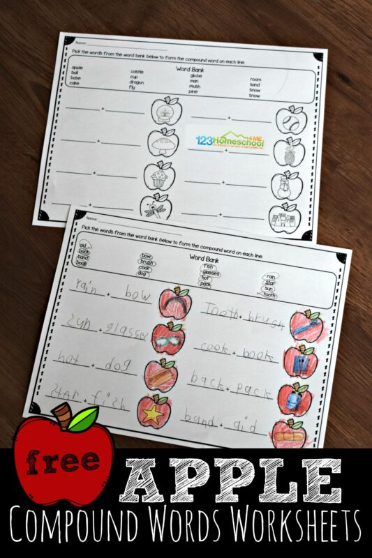 graphic regarding Printable Compound Word Games called Apple Substance Terms Worksheets 123 Homeschool 4 Me