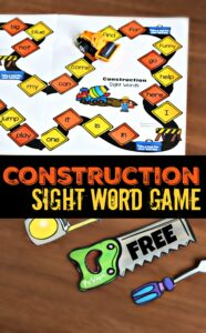 Construction Sight Word Game for preschool and kindergarten age kids kids to improve reading